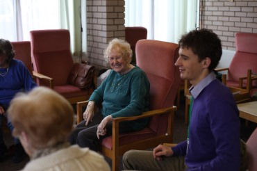 Social Worker with a group of elderly people